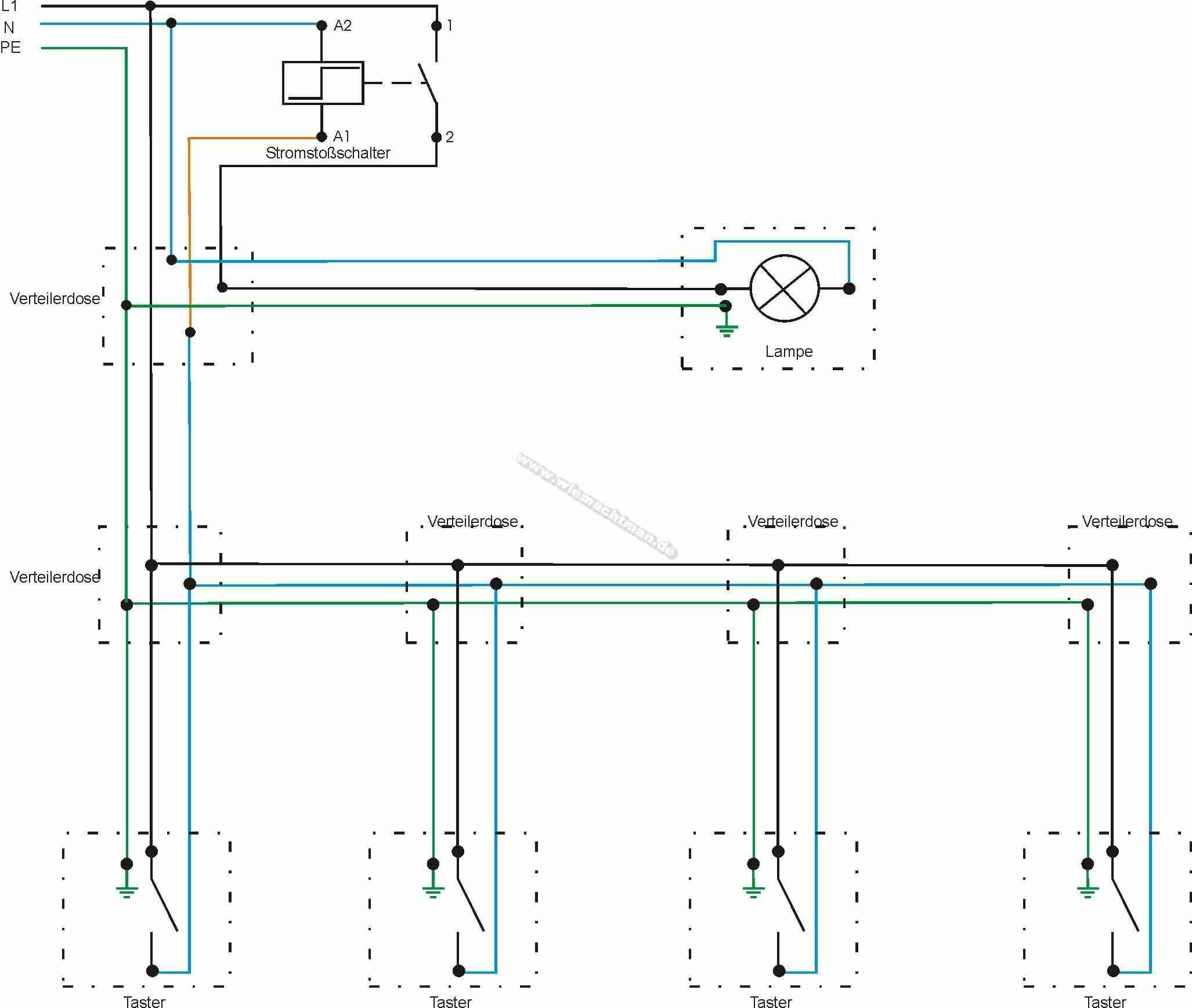 Botón Pulsador Circuito Diagrama De Cableado