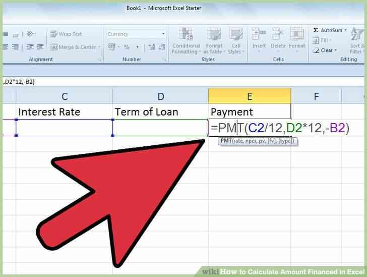 Imagen titulada Calcular el Monto Financiado en Excel Paso 4