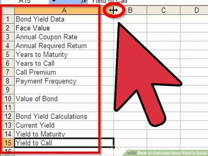 Imagen titulada Calcular el Rendimiento de los Bonos en Excel Paso 2