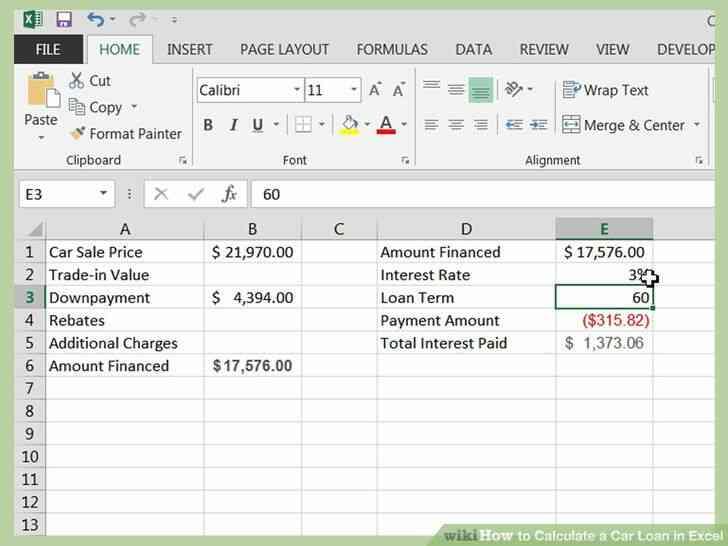 Imagen titulada Calcular un Préstamo de Coche en Excel Paso 10