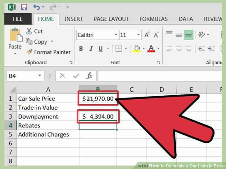 Imagen titulada Calcular un Préstamo de Coche en Excel Paso 4