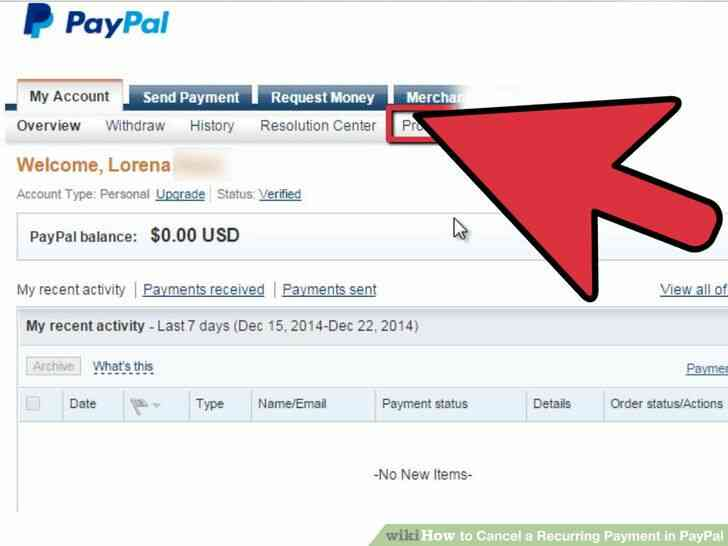 Imagen titulada Cancelar un Pago Recurrente en PayPal Paso 2