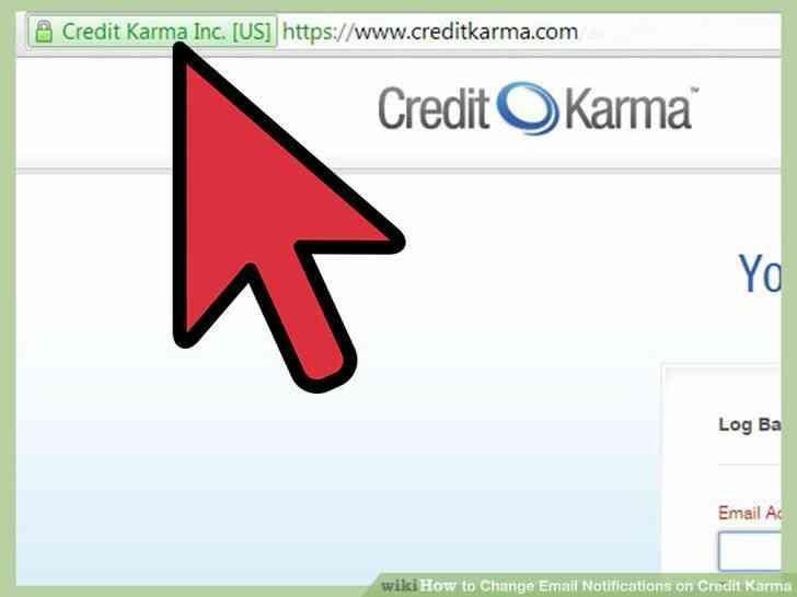 Imagen titulada Cambiar las Notificaciones de Correo electrónico en el Crédito Karma Paso 1