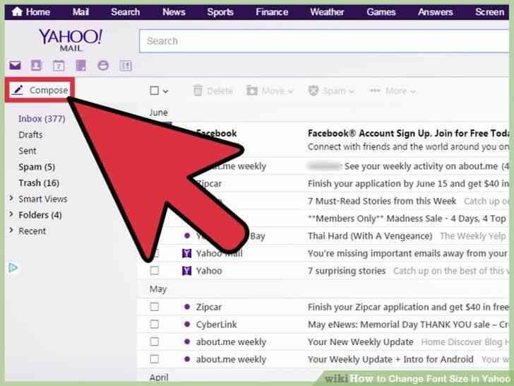 Imagen titulada Cambiar el Tamaño de Fuente en Yahoo Paso 3