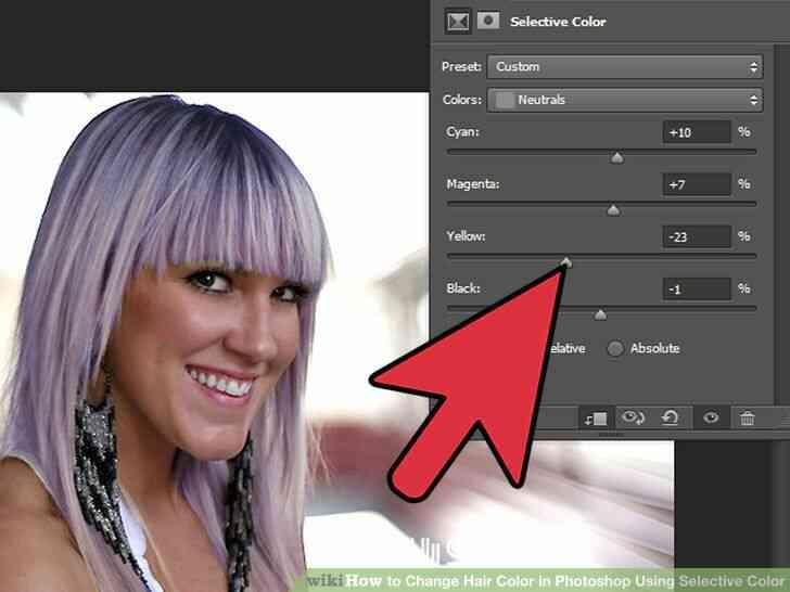Imagen titulada Cambio de Color de Pelo en Photoshop Utilizando Color Selectivo Paso 8