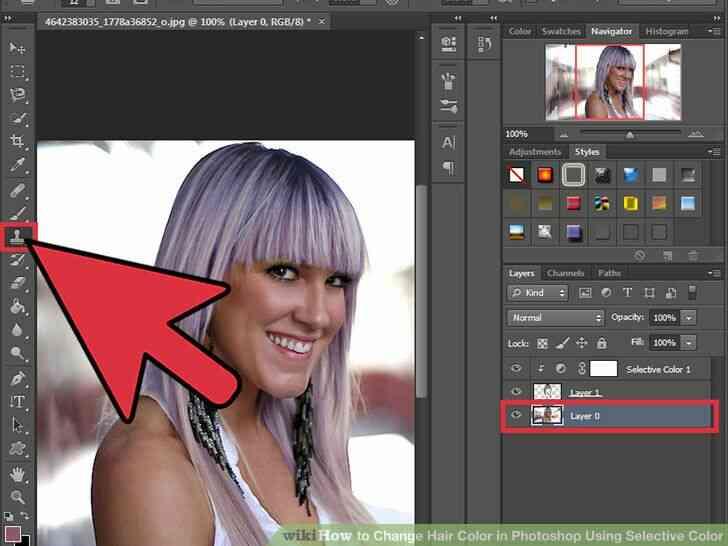 Imagen titulada Cambio de Color de Pelo en Photoshop Utilizando Color Selectivo Paso 11