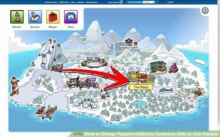 Imagen titulada Cambio de Pizzatron 3000 en Candytron 3000 en Club Penguin Paso 1