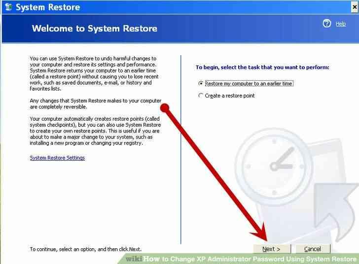 Imagen titulada Cambio de XP Contraseña de Administrador Mediante la Restauración del Sistema Paso 6