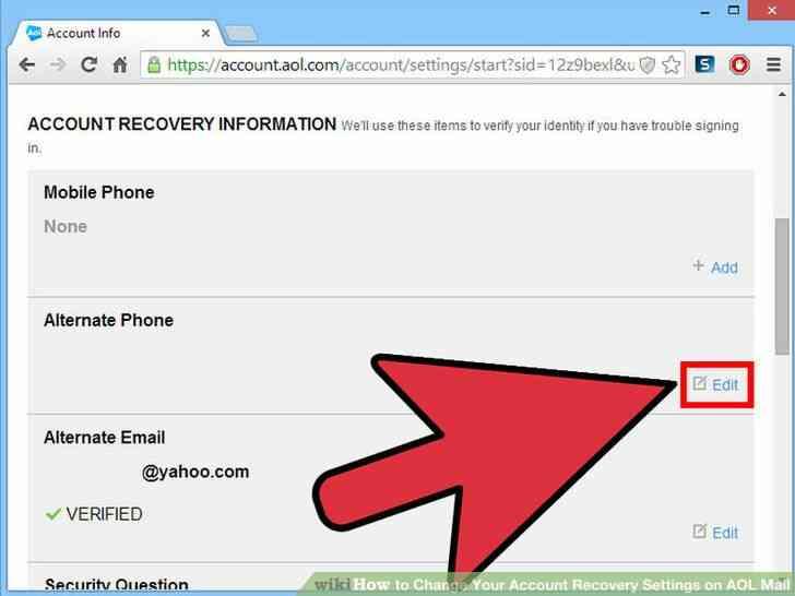 Imagen titulada Cambiar Su Cuenta de opciones de Recuperación de Correo de AOL Paso 6
