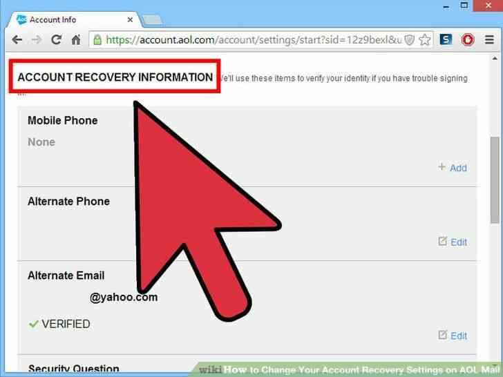 Imagen titulada Cambiar Su Cuenta de opciones de Recuperación de Correo de AOL Paso 4