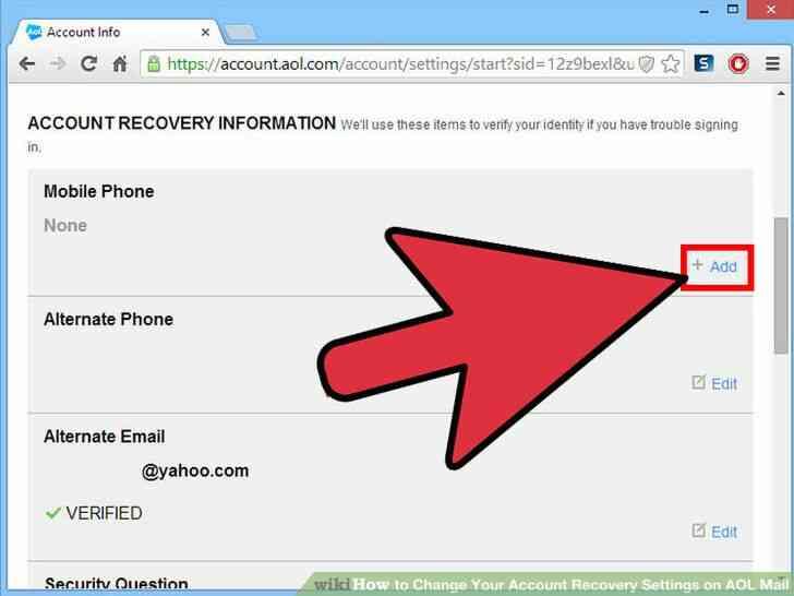 Imagen titulada Cambiar Su Cuenta de opciones de Recuperación de Correo de AOL Paso 5