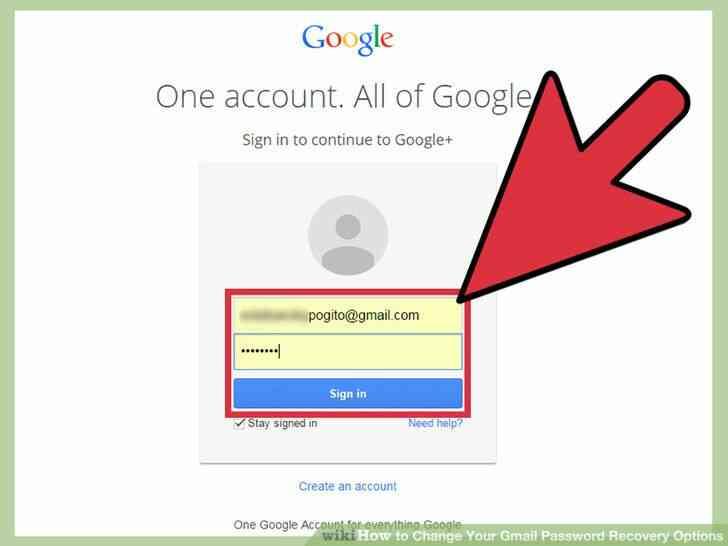 Imagen titulada Cambiar Tu cuenta de Gmail Opciones de Recuperación de Contraseña Paso 2