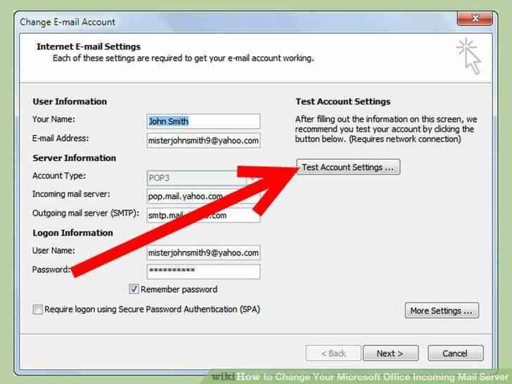 Imagen titulada Cambiar de Microsoft Office Servidor de Correo Entrante Paso 5