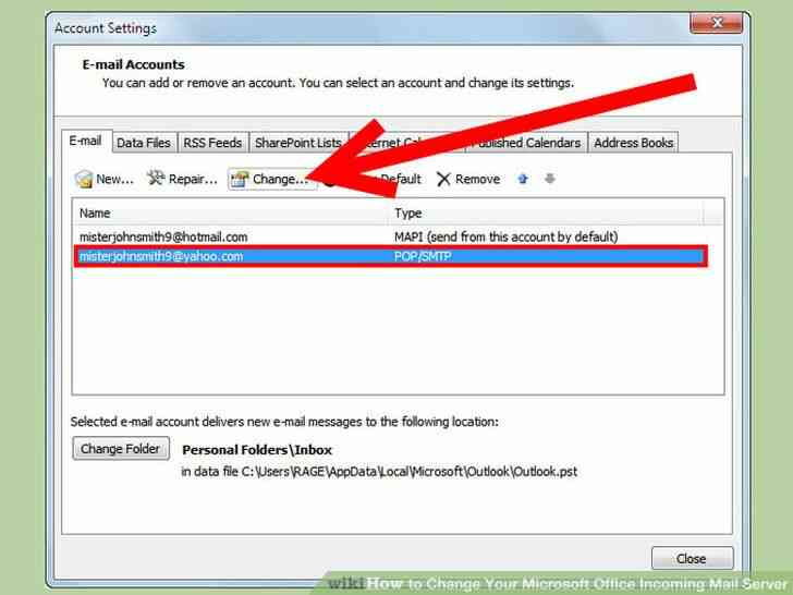 Imagen titulada Cambiar de Microsoft Office Servidor de Correo Entrante Paso 3