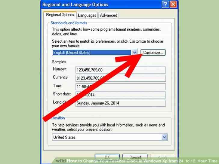 Imagen titulada Cambiar Su Reloj de la Barra de tareas en Windows Xp de 24 a 12 Horas de Tiempo de Paso de 3