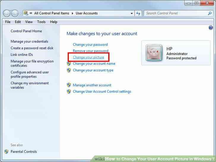 Imagen titulada Cambiar Su Imagen de Cuenta de Usuario en Windows 7 Paso 3
