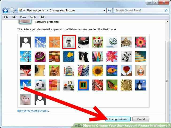 Imagen titulada Cambiar Su Imagen de Cuenta de Usuario en Windows 7 Paso 4