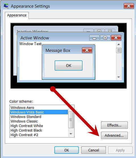 Cómo Cambiar el Esquema de Color en Windows Vista