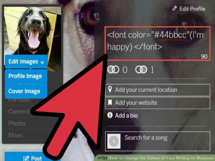 Imagen titulada Cambiar el Color de Su Escritura en Myspace Paso 3