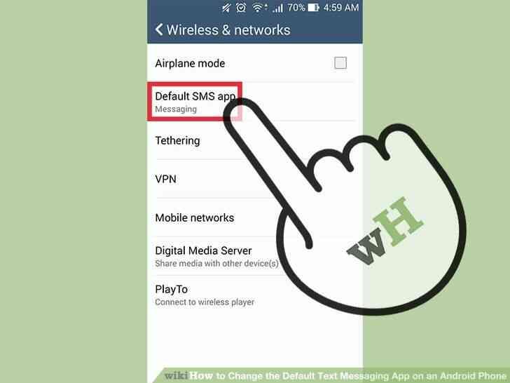 Imagen titulada Cambiar el valor Predeterminado de Mensajería de Texto de la Aplicación en un Teléfono Android Paso 4