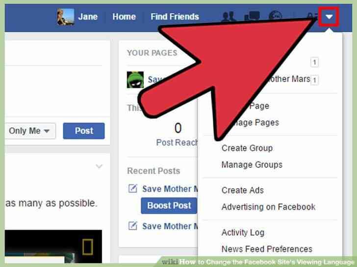 Imagen titulada Cambiar el Facebook del Sitio Idioma de Visualización Paso 14
