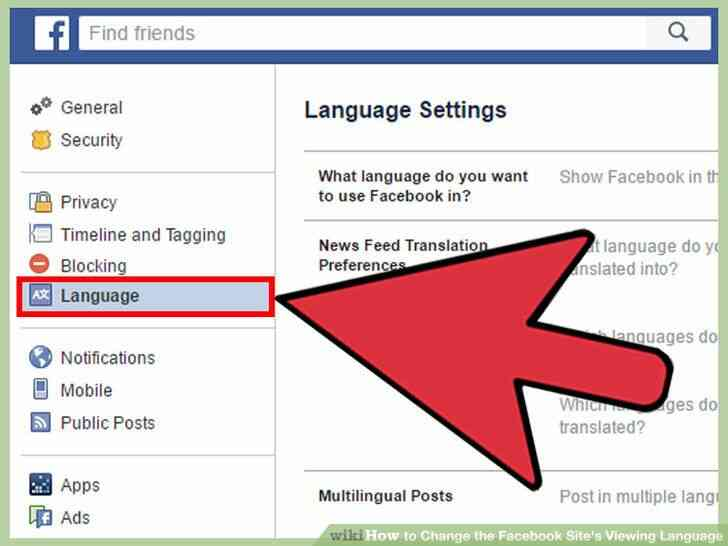 Imagen titulada Cambiar el Facebook del Sitio Idioma de Visualización Paso 16