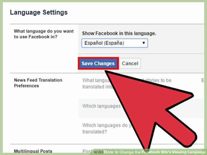 Imagen titulada Cambiar el Facebook del Sitio Idioma de Visualización Paso 20