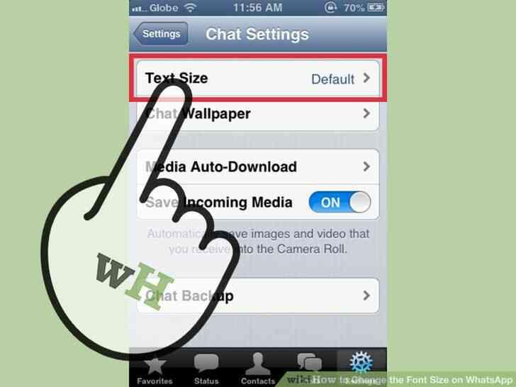 Imagen titulada Cambiar el Tamaño de letra en WhatsApp Paso 3