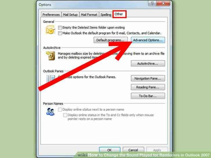 Imagen titulada Cambiar el Sonido que se Reproduce para Recordatorios en Outlook 2007 Paso 2