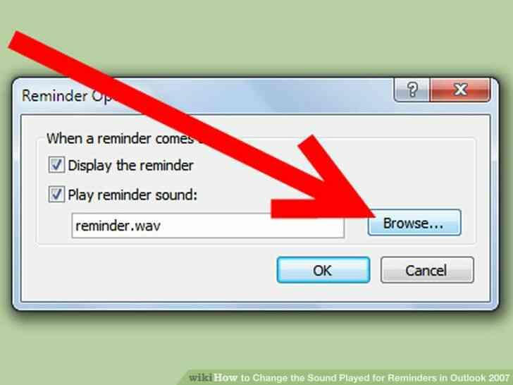 Imagen titulada Cambiar el Sonido que se Reproduce para Recordatorios en Outlook 2007 Paso 4