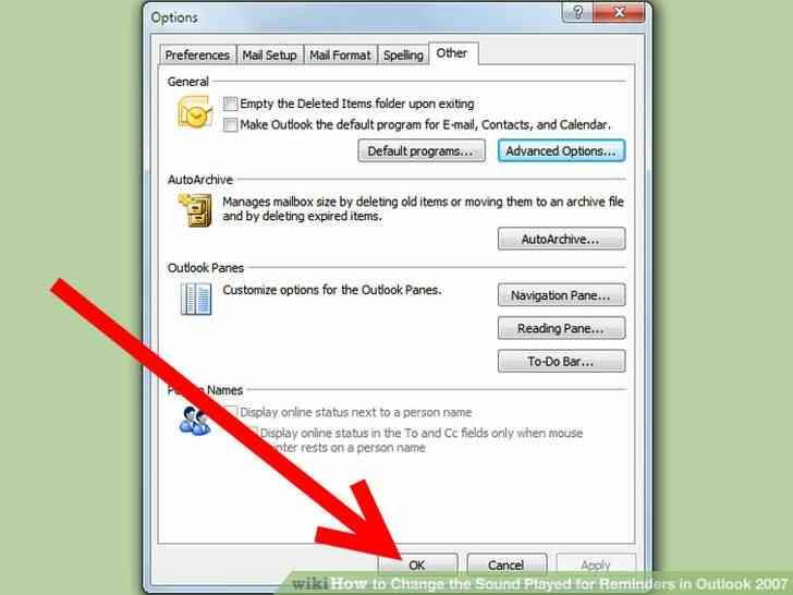 Imagen titulada Cambiar el Sonido que se Reproduce para Recordatorios en Outlook 2007 Paso 5