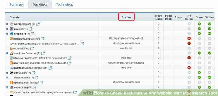 Imagen titulada revisar los vínculos de retroceso a Cualquier sitio Web con Moonsearch Herramienta Paso 6