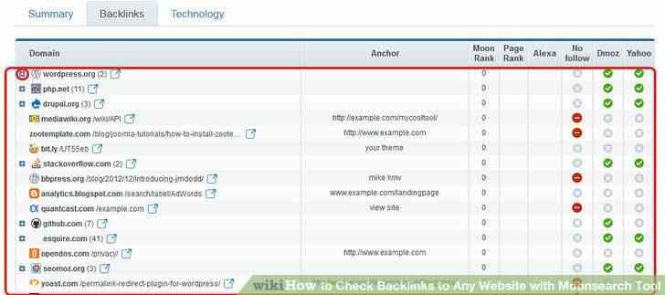 Imagen titulada revisar los vínculos de retroceso a Cualquier sitio Web con Moonsearch Herramienta Paso 4