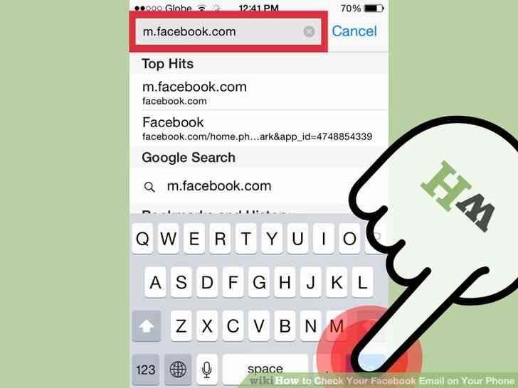 Imagen titulada Comprobar Su Facebook en el Teléfono Correo electrónico Paso 2
