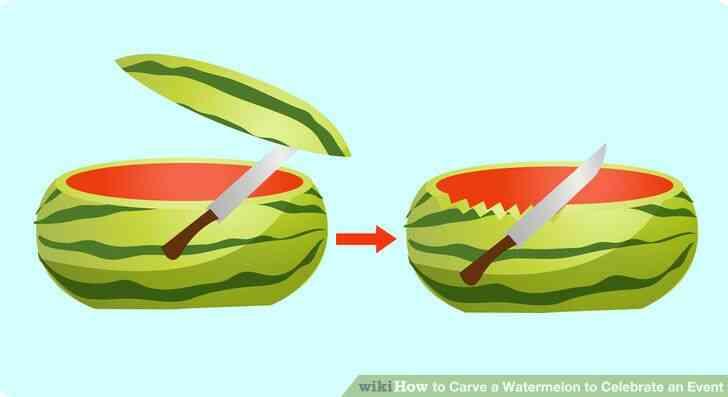 Imagen titulada corte la parte de arriba de 13 de el melón a lo largo, dejando a cerca de 23 de el melón en la parte inferior. Paso 2